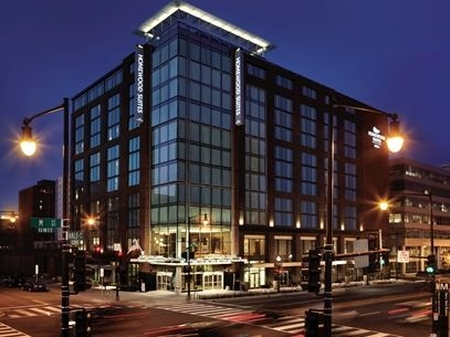 Exterior of the Homewood Suites Washington DC Navy Yard hotel - one of our recommended hotels for visitors deciding where to stay in Washington DC.