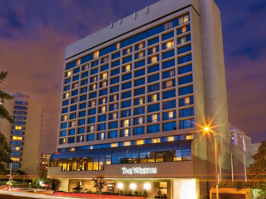 Exterior of the Westin Crystal City hotel in Arlington, Virginia- one of our recommended hotels for visitors deciding where to stay in Washington DC.