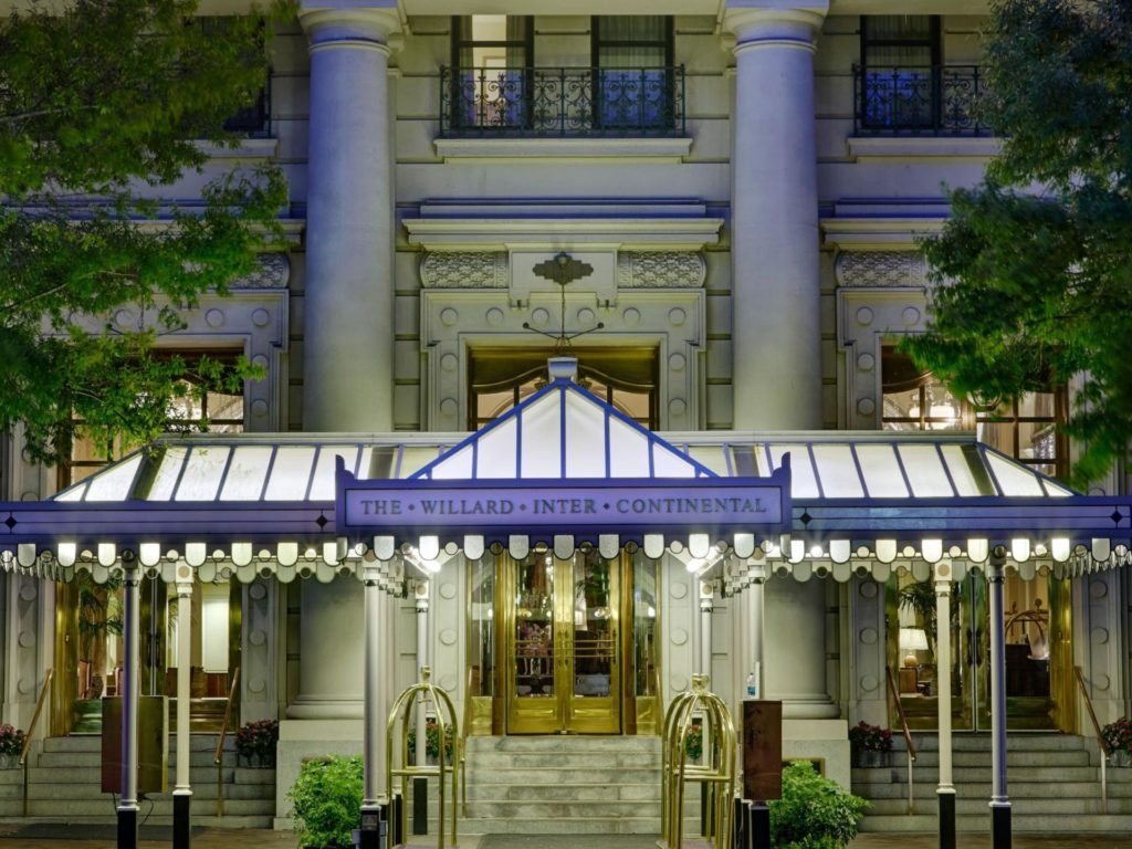 Exterior of the Willard Intercontinental, a historic downtown Washington DC hotel and one of our recommended hotels for visitors deciding where to stay in Washington DC.
