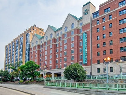 Exterior of the Homewood Suites Downtown DC hotel - one of our recommended hotels for visitors deciding where to stay in Washington DC.