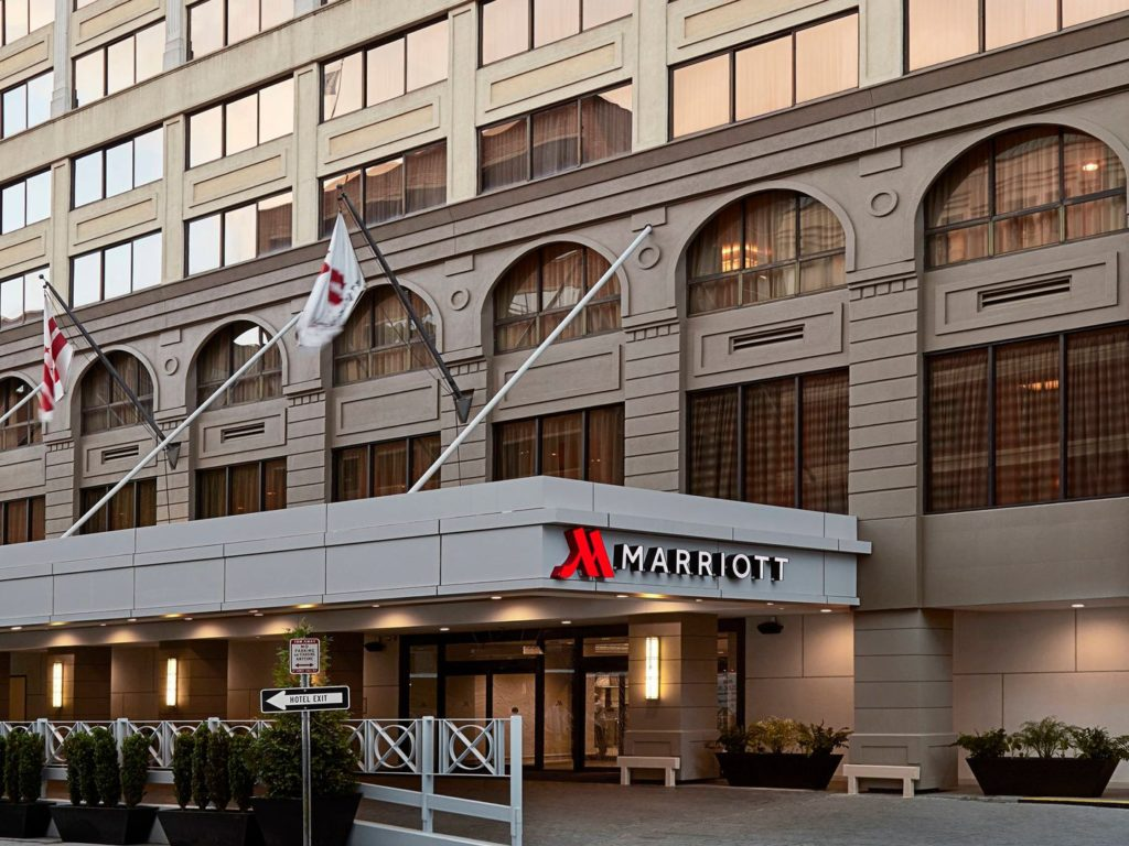 Exterior of the Washington DC Marriott Georgetown hotel - one of our recommended hotels for visitors deciding where to stay in Washington DC.