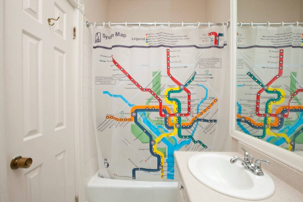 This is a Washington, DC Airbnb rental in the Foggy Bottom neighborhood. They even have a DC Metro shower curtain!