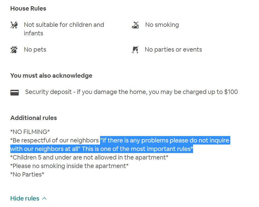 Airbnb rules: red flag example